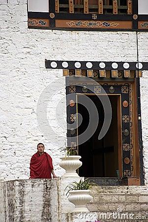 Buddhist monk, Simtokha, Bhutan Editorial Stock Photo