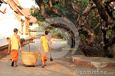 Buddhist Monk Yard Work Editorial Image