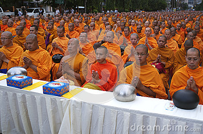 Buddhist Monks in Bangkok Editorial Stock Image