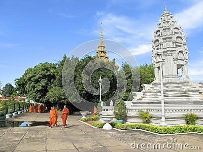 Buddhist Monks in Cambodia Editorial Stock Photo
