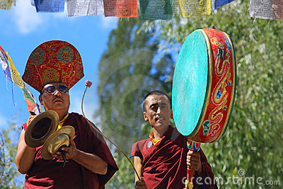 Buddhist monks on ceremony Editorial Stock Image