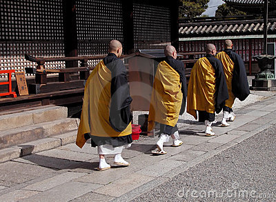 Buddhist monks group Editorial Image