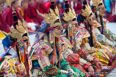Buddhist monks and lamas during Tsam Mystery Editorial Photo