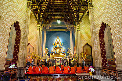 Buddhist Monks at Marble Temple Editorial Stock Image