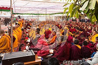 Buddhist monks near stupa Boudhanath during festive Puja of H.H. Drubwang Padma Norbu Rinpoche s reincarnation s