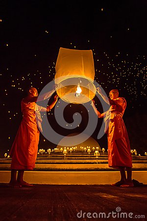 Buddhist monks release sky lantern to worship Buddha s relics Editorial Photo