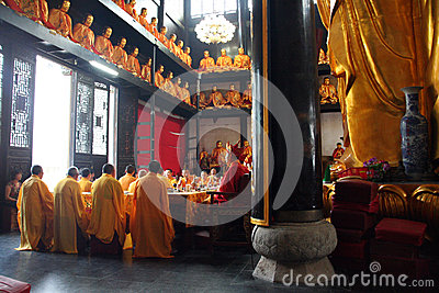 Buddhist Monks During Religious Ceremony Editorial Stock Photo