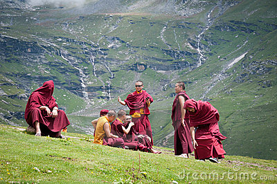 Buddhist monks rest Editorial Stock Photo