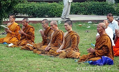 Buddhist monks at Sarnath Editorial Image