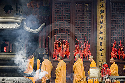 Buddhist monks in Shanghai Editorial Photo