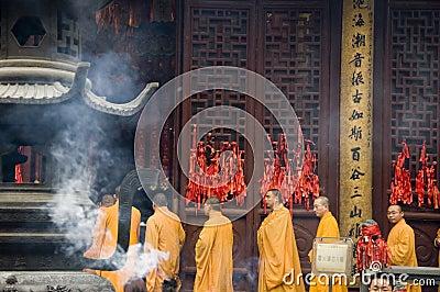 Buddhist monks in Shanghai Editorial Photo