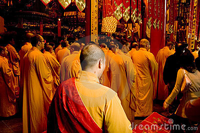 Buddhist monks in Shanghai Editorial Photography