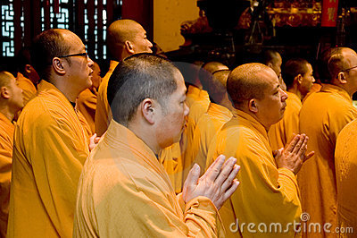 Buddhist monks in Shanghai Editorial Stock Image