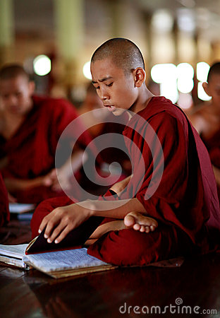 Buddhist novice in Yangon Editorial Photo