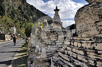Buddhist pagodas by the road Editorial Stock Photo