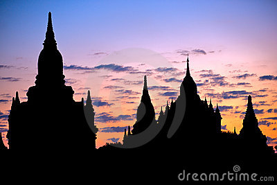 Buddhist Pagodas at sunrise, Bagan, Myanmar