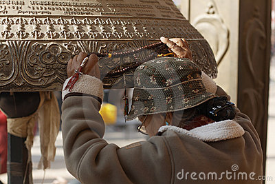 Kathmandu, Nepal, Buddhist Pilgrim at Boudhanath Stupa Editorial Photo