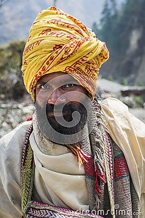 Buddhist pilgrim in Himalaya mountains Editorial Photography