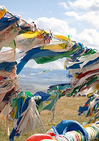 Buddhist prayer flags on mountain pass