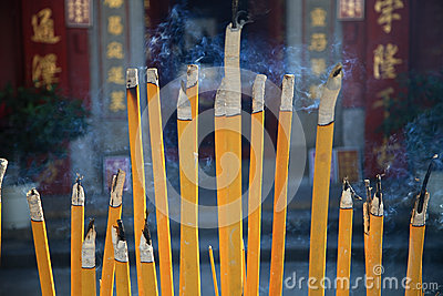 Buddhist prayer joss sticks