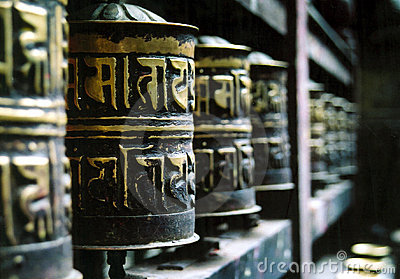 Buddhist Prayer Wheels in a Row