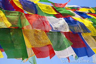 Buddhist Religious Flag at Boudhanath Temple, Nepa