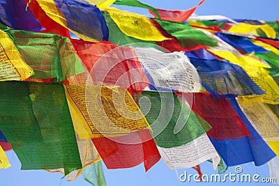 Buddhist Religious Flag at Boudhanath Temple, Nepa