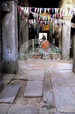 Buddhist statue- Angkor Wat ruins, Cambodia.