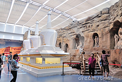 Buddhist Stone Carving and stupa Editorial Stock Photo