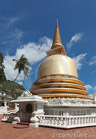 Buddhist Stupa In Golden Temple Sri Lanka Royalty Free