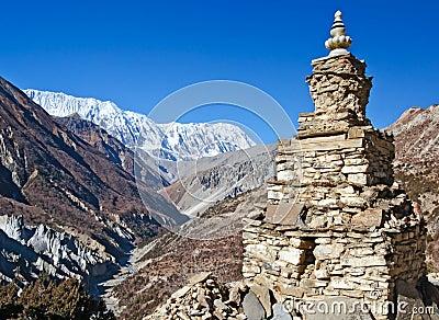 The Buddhist stupa in  Himalayas