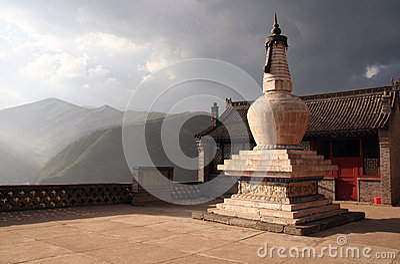 Buddhist Stupa At The Setting Sun In Nanshan Temple, Wutaishan,