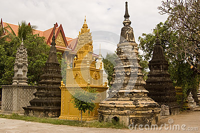 Buddhist Stupa at Wat Bo Temple, Siem Reap, Cambod