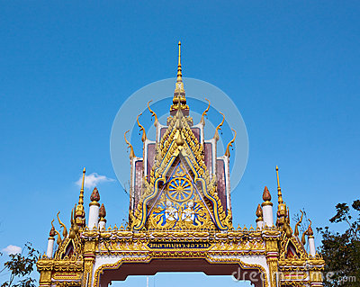 Buddhist temple gate s gable with ornament tiered