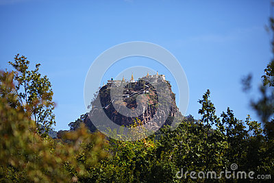 Buddhist temple on a rock Mount Popa, Shwezigon Pa