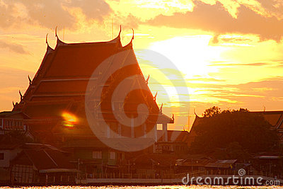 Buddhist temple sunset in Bangkok