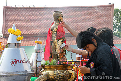 Buddhist worshiping and making religious merit Editorial Photography