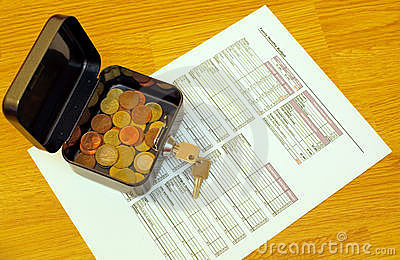 Budget worksheet and coins