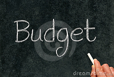 Budget, written with chalk on a blackboard.