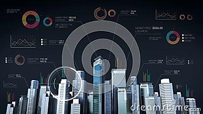 Budowy Technology budynku miasta linia horyzontu i robi miastu z ekonomiczną mapą, diagram