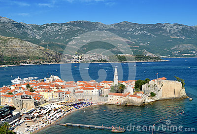 Budva old town view
