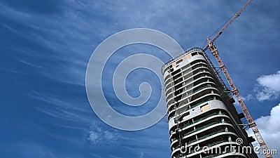 Budynek nowożytny centrum biznesu w mieście, rynek nieruchomości, niedokończony mieszkaniowy dom, kopii przestrzeń zbiory