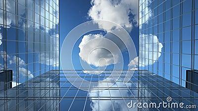 Budynki biurowe i chmury bez ograniczeń czasowych, animacja 3d 4k, Ultra HD 3840x2160 zbiory