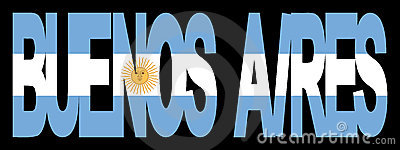 Buenos Aires text with flag