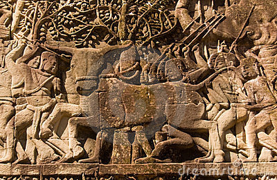 Buffalo sacrifice, Ancient Khmer sculpture, Cambod
