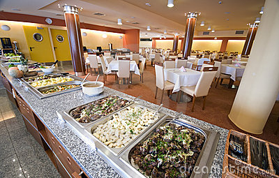 Buffet in hotel dining room