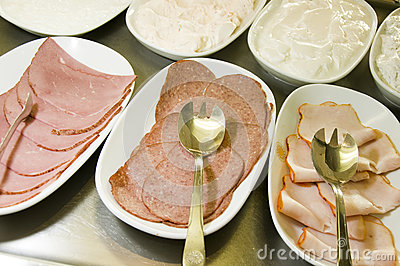 Buffet meat cheese platters