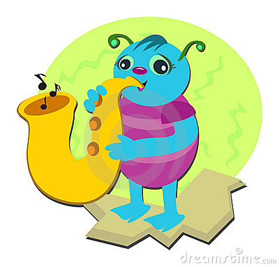Bug Playing a Saxophone