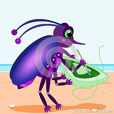 Bug sewing a rug