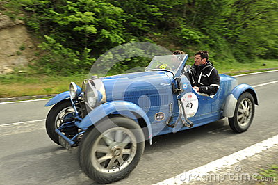 Bugatti car running in Mille Miglia race Editorial Stock Image